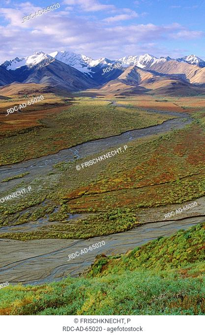 Alaska Range and Toklat River Polychrome Pass Denali national park Alaska USA