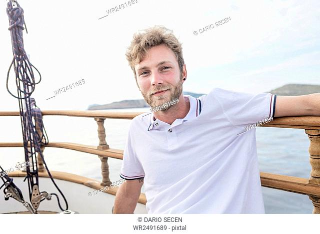 Portrait of man on sailboat