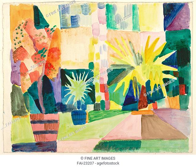 Garden on Lake Thun (Pomegranate Tree and Palm in the Garden). Macke, August (1887-1914). Watercolour on cardboard. Expressionism. 1914. Germany