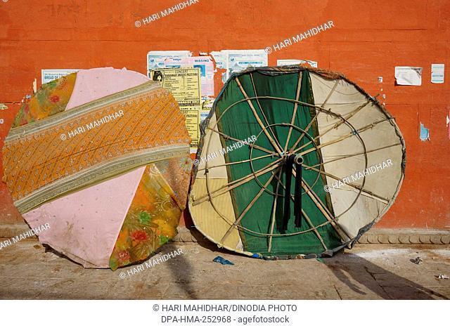 Umbrellas, varanasi, uttar pradesh, india, asia