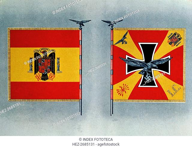 Front and back of the Flag of the Condor Legion during the Spanish Civil War