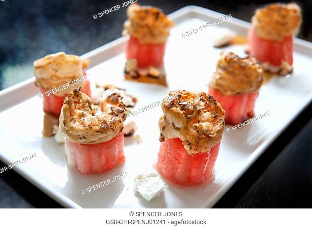 Watermelon Shrimp on White Plate
