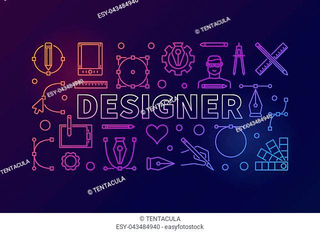 Designer modern vector colorful horizontal illustration or banner in thin line style on dark background