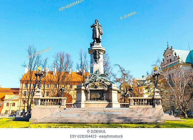 Adam Mickiewicz monument at Krakowskie Przedmiescie Street in Warsaw, Poland