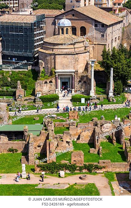 The Temple of Romulus, Roman Forum, Rome, Italy, Europe