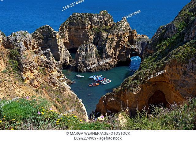 "Rock formation at """"Ponta da Piedade"""", Lagos, Algarve, Portugal, Europe"