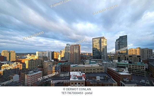 Massachusetts, Boston, City skyline at dawn