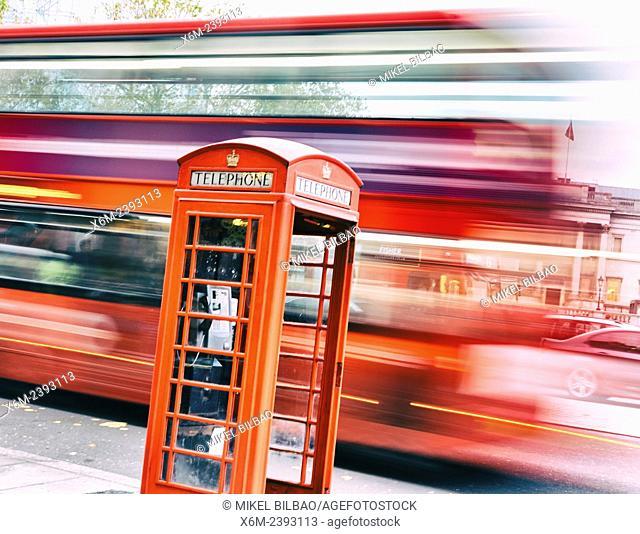 Traditional UK red telephone box. London, England, United kingdom, Europe