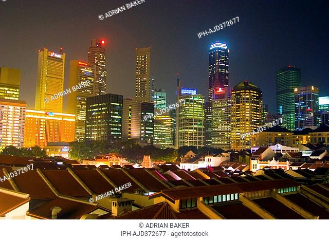 Singapore - The skyline of Singapore seen above the roofs of Chinatown