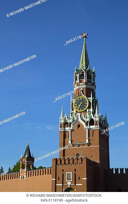Saviour's Tower, Kremlin, UNESCO World Heritage Site, Moscow, Russia