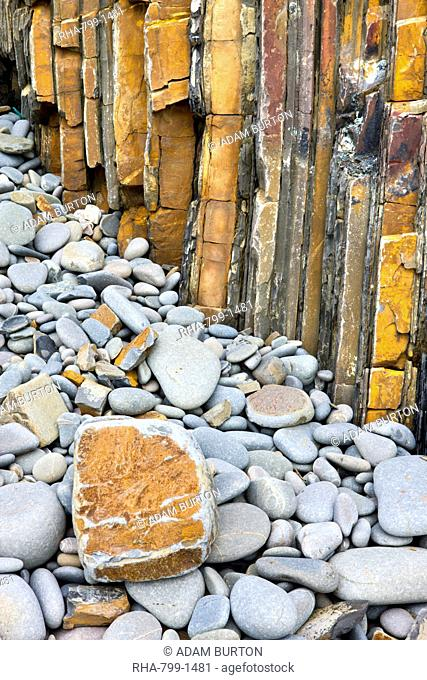 Rock formations and pebbles at Sandymouth Bay in North Cornwall, England, United Kingdom, Europe