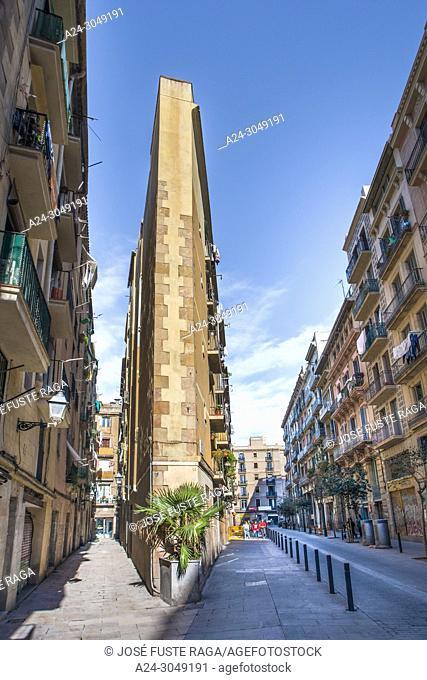 Spain, Barcelona city, ciutat vella, el rabal area, street