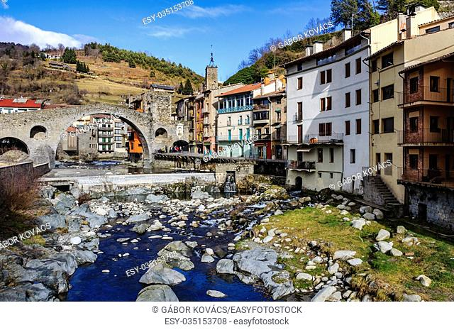 Stone bridge and river in the medieval Catalan village of Camprodon, Spain