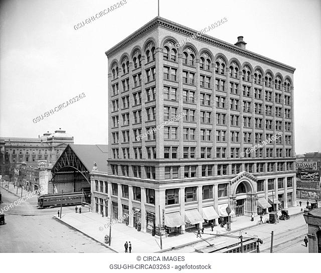 Union Traction Building, Indianapolis, Indiana, USA, Detroit Publishing Company, 1910