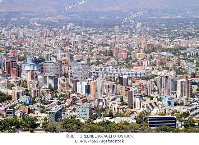 Chile, Santiago, Cerro San Cristobal, Terraza Bellavista, view from, Providencia, scenic overlook, city skyline, building, high-rise, distance, street grid