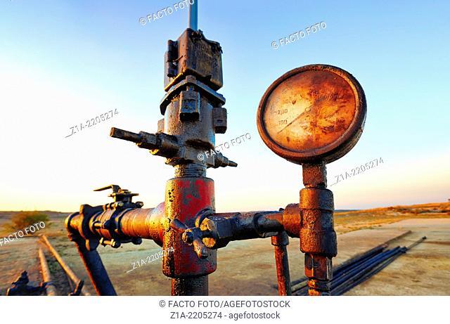 Oil well at Ayoluengo de la Lora. Sargentes, Burgos, Castile and Leon, Spain