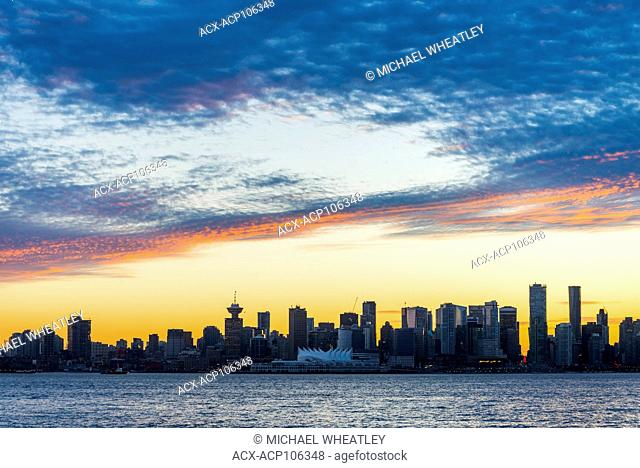 Vancouver skyline at sunset, Vancouver, British Columbia, Canada