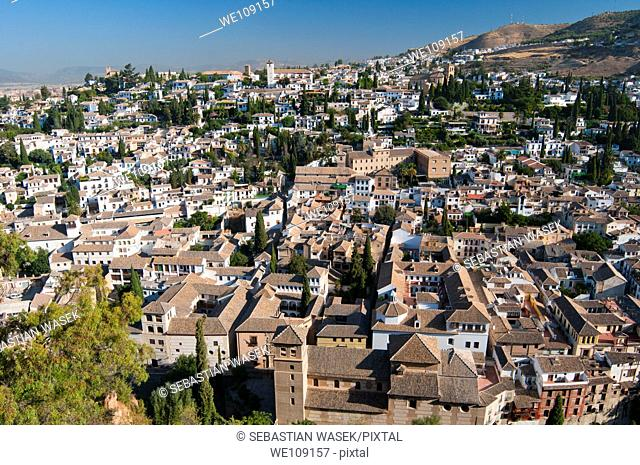 View from wall Palacios Nazaries, Alhambra, Granada, Andalucia, Spain, Europe