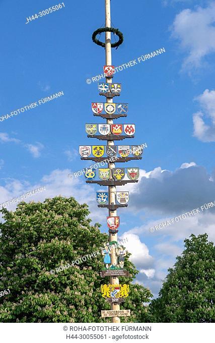 Bayern, Oberbayern, Brauch, Brauchtum, Teisendorf, Marktplatz, Berchtesgadener Land, Bräuche, Braeuche, Mai, Maibaum, Baum, aufstellen, Maibaum aufstellen