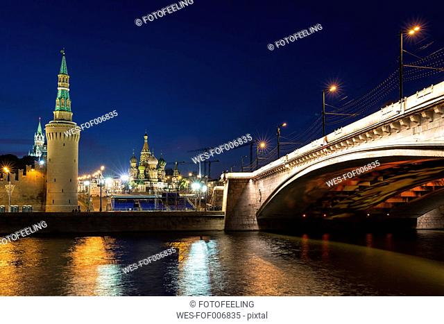 Russia, Central Russia, Moscow, Red Square, Saint Basil's Cathedral, Kremlin Wall and Bridge, Moskva River at night