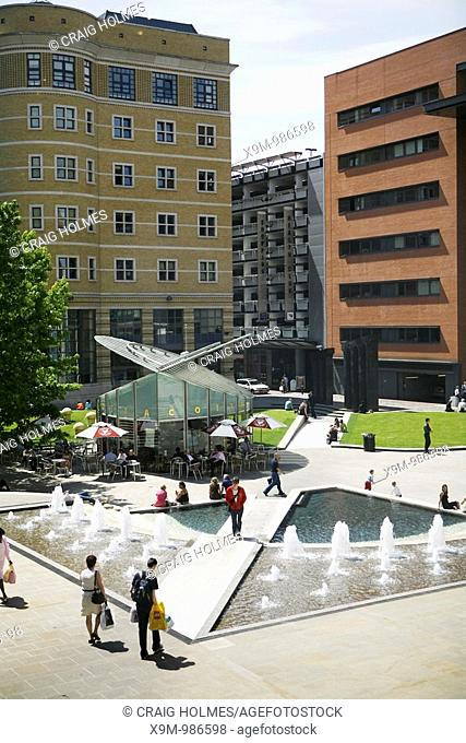 Brindleyplace, Birmingham, West Midlands  The cafe and water feature in Central Square
