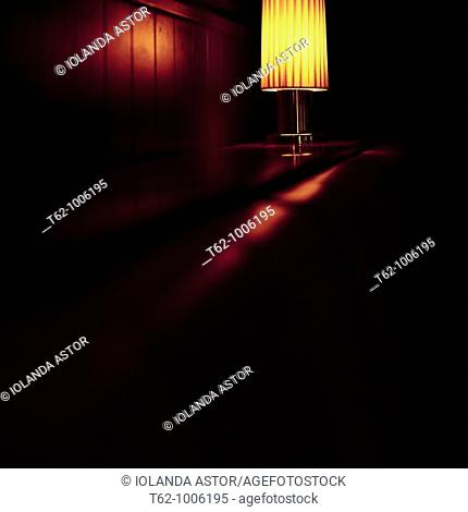 Lighted lamp inside a room