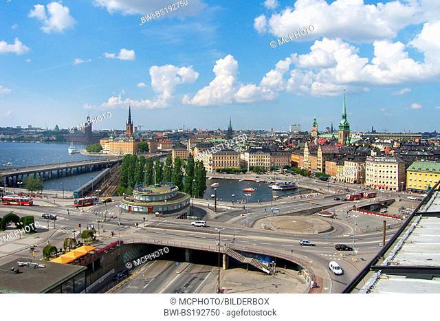 Sweden, Stockholm, view to Gamla Stan from Katarinahissen, Sweden