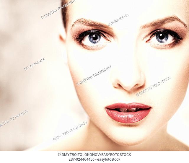 Look. Beauty female portrait Skin care concept