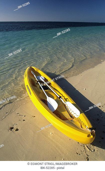 Sea kajak on a beach at Cape Range National Park, Ningaloo Reef Marine Park