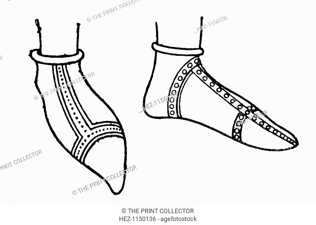Norman shoes, (1910). Footwear featuring cross-banded chausses, dating from the Norman Conquest of Britain in 1066. Footwear during this period developed twists...