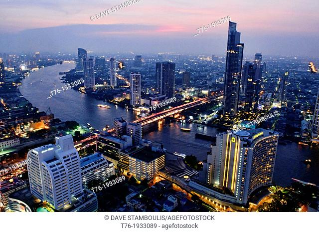view of Bangkok and the Chao Phraya River by night, Thailand
