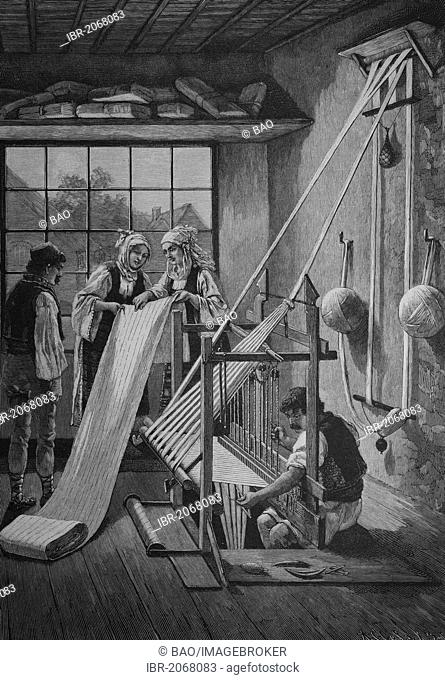 Historical engraving, loom for weaving cotton, Serbia, 1888