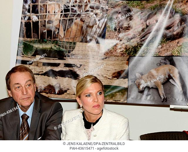 The preasident of The European Animal and Nature Protection Association (ETN) Dieter Ernst and animal rights activist Princess Maja von Hohenzollern speak at an...