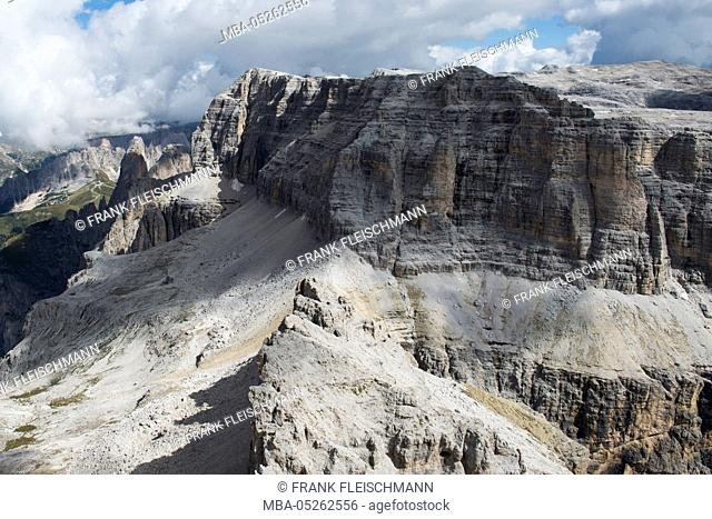 Sella group, Sellapass, Val di Fassa, the Dolomites, Sella, Piz Selva, Sas de Salei, Fassa Valley, mountain village, cable car, Trentino, Italy, scenery