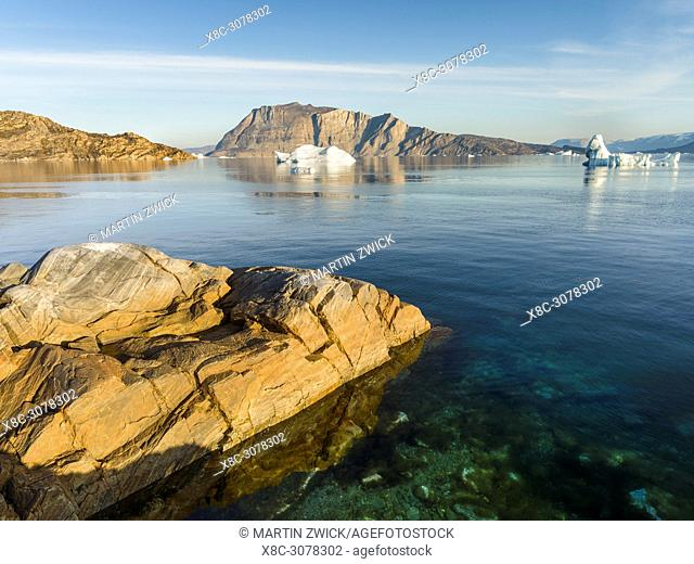 Landscape with icebergs in the Uummannaq fjord system in the north of west greenland. America, North America, Greenland, Denmark