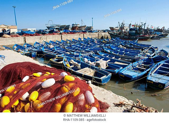 Blue fishing boats in Essaouira Port, formerly Mogador, Morocco, North Africa, Africa