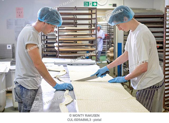 Bakers in protective clothing preparing length of dough