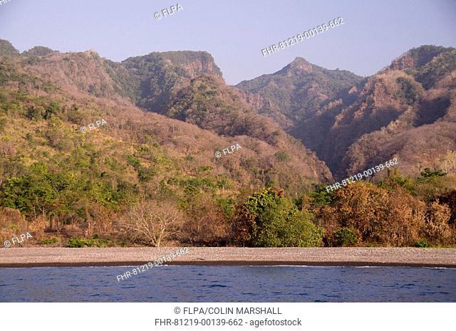 View of beach and forested hills, near Perai Village, West Wetar Island, Alor Archipelago, Lesser Sunda Islands, Indonesia