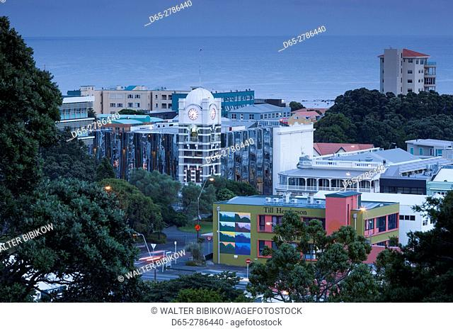 New Zealand, North Island, New Plymouth, elevated skyline view, dawn