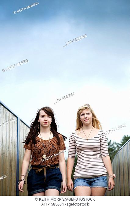 Two 16 17 year old teenage girls, UK