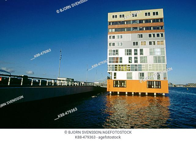 Condo on water. Amsterdam harbor, Netherlands