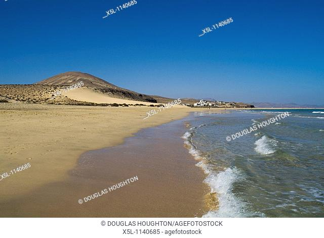 Risco del Paso PENINSULA DE JANDIA FUERTEVENTURA Sandy beach sand dunes and blue sea waves