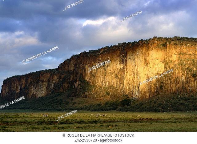 Scenic view of Columnar basalt cliffs. Hells Gate National Park. Naivasha. Great Rift Valley. Kenya