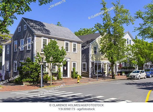 Buildings and shops along Broad Street in Nantucket, Massachusetts