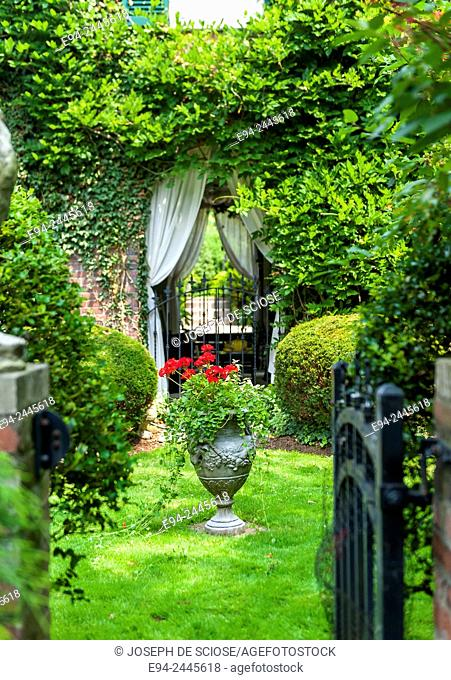 A container planting in a beautiful garden setting. Pittsburgh Pennsylvania