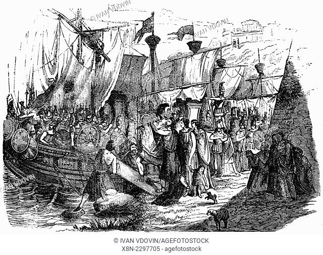 Departure of fleet, illustration from book dated 1878