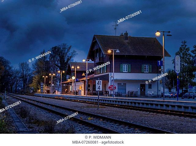 Lonely train station in Diessen am Ammersee at night, Dießen, Bavaria, Germany, Europe