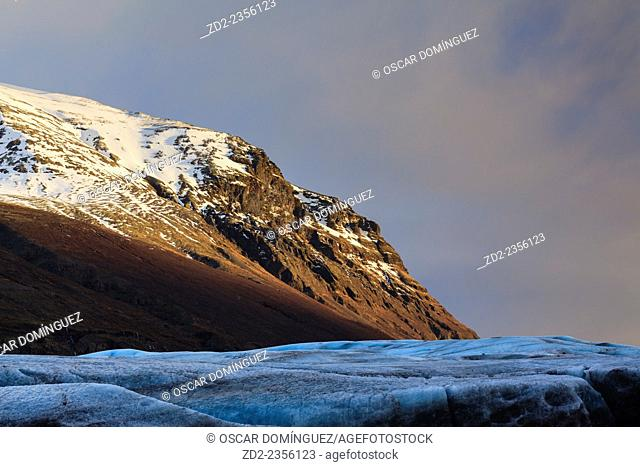 View of Svinafellsjokull glacier at sunset. Vatnajokull National Park. Iceland