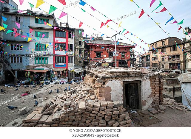 Nepal, Kathmandu, one year after the earthquake, Thamel area
