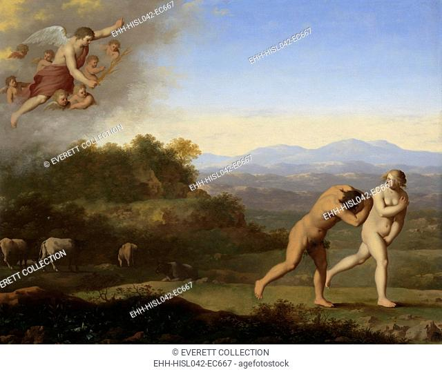 The Expulsion from Paradise, Cornelis van Poelenburch, after 1646, Dutch painting, oil on panel. Adam and Eve driven out of Paradise by an angel with a flaming...